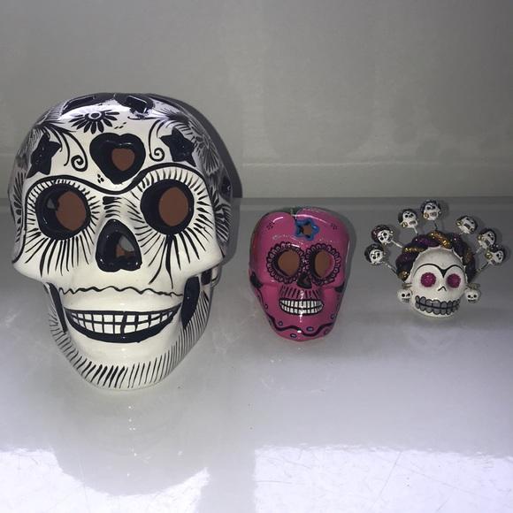 Set of 3 sugar skulls from Mexico